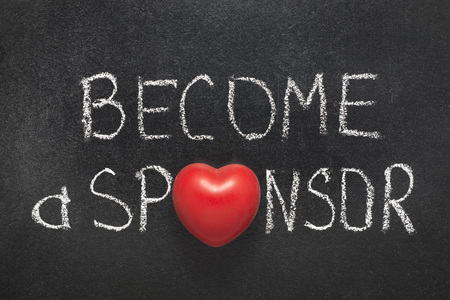 sponsor: become a sponsor phrase handwritten on chalkboard with heart symbol instead of O Stock Photo