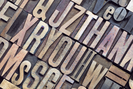 letterpress type: detailed vintage wooden letterpress type tilted point of view Stock Photo