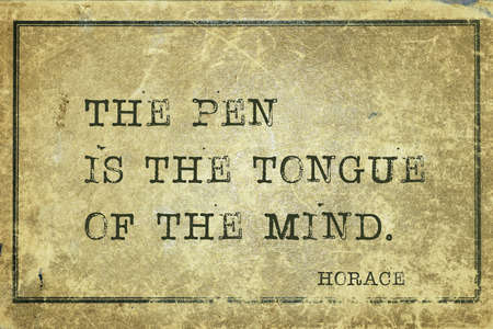 horace: The pen is the tongue of the mind - ancient Roman poet Horace quote printed on grunge vintage cardboard Stock Photo