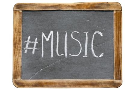 redirect: music hashtag handwritten on vintage school slate board isolated on white