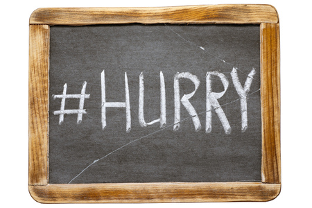 redirect: hurry hashtag handwritten on vintage school slate board isolated on white