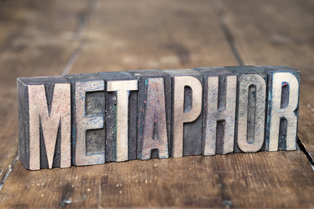 letterpress type: metaphor word made from wooden letterpress type on grunge wood