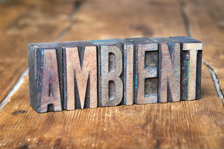 letterpress type: ambient word made from wooden letterpress type on grunge wood