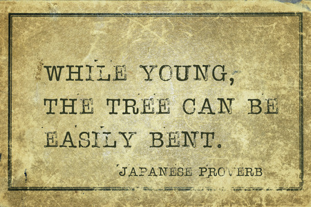 ancient japanese: While young, the tree can be easily bent - ancient Japanese proverb printed on grunge vintage cardboard