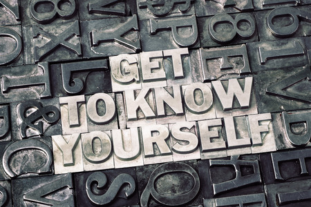 get to know yourself phrase made from metallic letterpress blocks with dark letters background