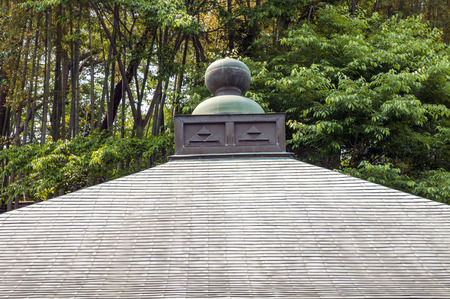 fragment: fragment of Japanese temple roof in green forest