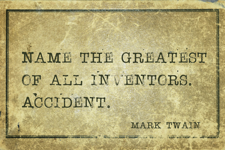 twain: Name the greatest of all inventors -  famous American writer Mark Twain quote printed on grunge vintage cardboard Stock Photo