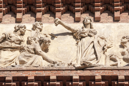 frieze: fragment of famous Arc de Triomf frieze in  Barcelona, Spain