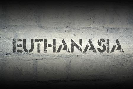 lethal: euthanasia word stencil print on the grunge white brick wall Stock Photo