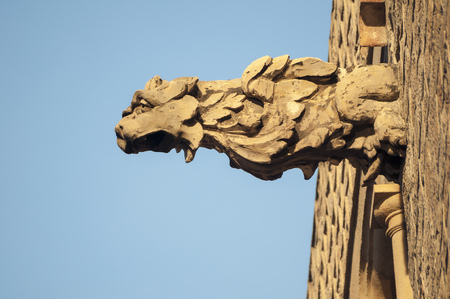 frieze: detailed lion head frieze on the wall of Barcelona Cathedral