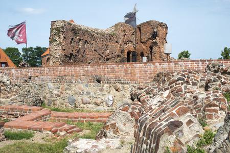 crusaders: ancient ruined brick walls of crusaders castle in Torun, Poland