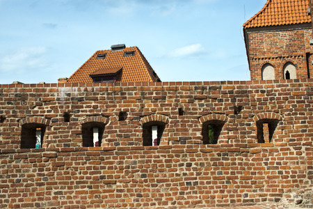 fragment: ancient wall fragment of crusaders castle in Torun, Poland
