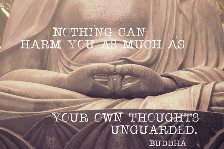 nothing: Nothing can harm you as much - famous Buddha quote printed on image of sculptures hands in peaceful position