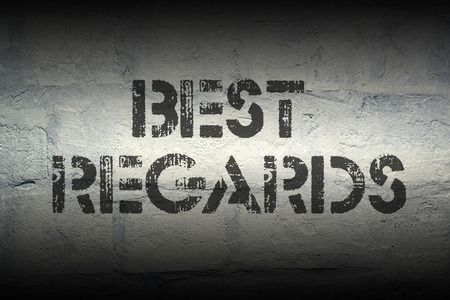 best regards: best regards stencil print on the grunge white brick wall