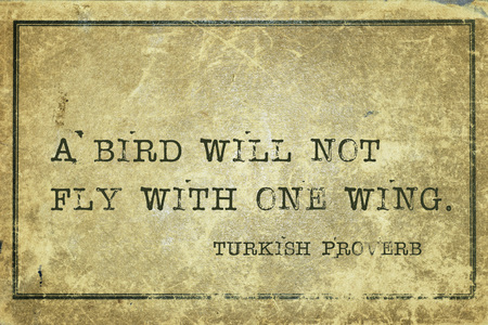 ancient philosophy: A bird will not fly with one wing - ancient Turkish proverb printed on grunge vintage cardboard