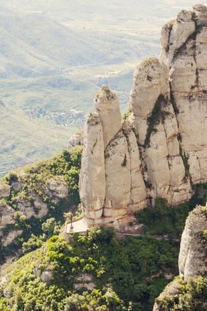 vicinity: huge stone rocks in Montserrat mountains in Barcelona vicinity, Spain Stock Photo