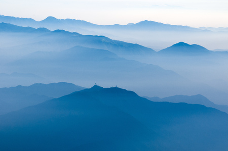 atmosphere: scenic foggy atmosphere above Japanese mountains by early morning