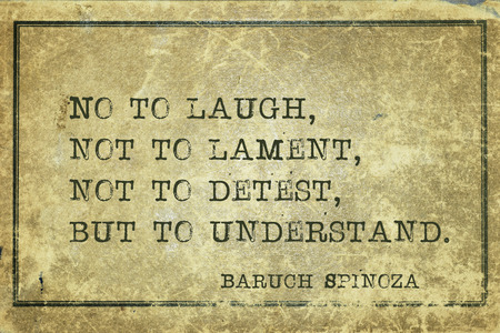 understand: No to laugh, not to lament, not to detest, but to understand - ancient Dutch philosopher Baruch Spinoza quote printed on grunge vintage cardboard Stock Photo