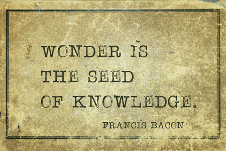 english famous: Wonder is the seed of knowledge - famous medieval English philosopher Francis Bacon quote printed on grunge vintage cardboard Stock Photo