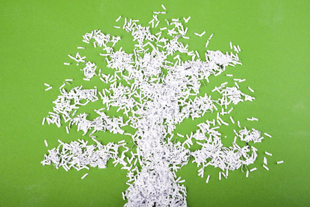 shredded paper: simple green tree symbol made from shredded paper particles on green background