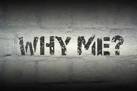 why me question stencil print on the grunge brick wall Standard-Bild