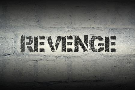 venganza: patrón de impresión venganza contra la pared de ladrillo blanco grunge