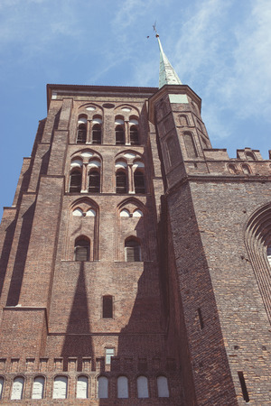 bottom view to famous St. Marys Basilica building in Gdansk, Poland