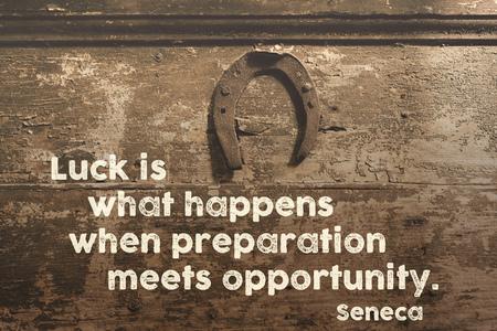 seneca: famous ancient Roman philosopher quote printed on vintage wooden door with hanged rusty horseshoe above Stock Photo