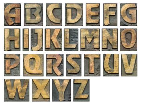 full alphabet vintage wooden letterpress set with capital letters isolated on white, detailed - each letter has 1200 pix in height
