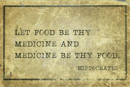음식을 thy 약 수 및 의학 thy 음식 수 - 유명한 고 대 그리스 의사 히포크라테스 견적 인쇄 grunge 빈티지 골 판지에