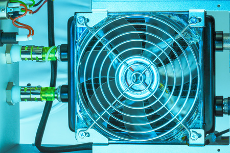 cooling fan mounted on water to air heat exchanger  Stock Photo