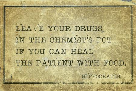음식으로 환자를 치료할 수 있다면 화학자의 냄비에 약을 남겨주세요 - 유명한 고 대 그리스 의사 Hippocrates 따옴표 빈티지 빈티지 골 판지에 인쇄 된 스톡 콘텐츠
