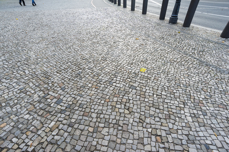 clean cobblestone pavement of city square in Berlin, Germany