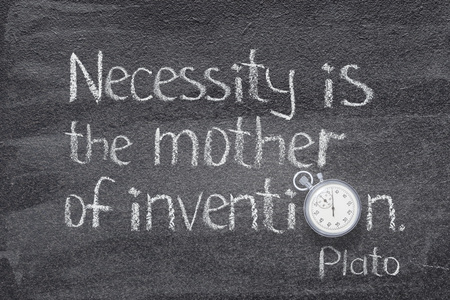 necessity is mother of invention quote of ancient Greek philosopher Plato written on chalkboard with vintage precise stopwatch used instead of O Stock Photo