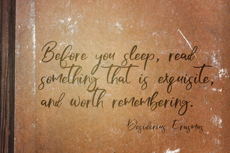 Before you sleep, read something that is exquisite, and worth remembering - ancient Dutch philosopher Desiderius Erasmus quote printed on grunge paper sheet