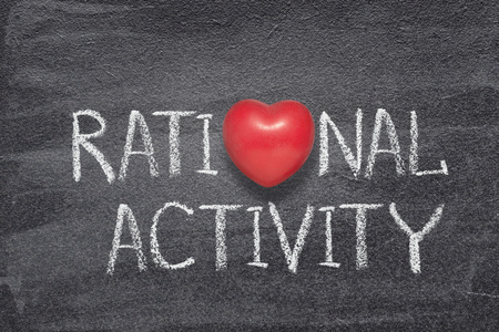 rational activity phrase written on chalkboard with red heart symbol instead of O