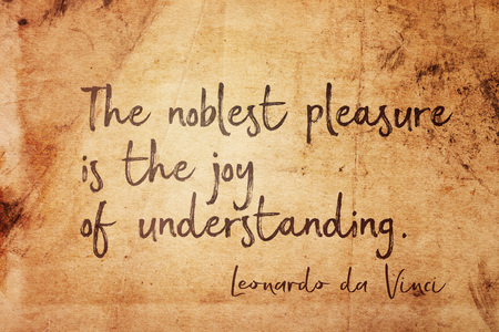 The noblest pleasure is the joy of understanding - ancient Italian artist Leonardo da Vinci quote printed on vintage grunge paper