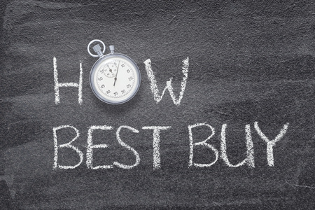 how best buy phrase written on chalkboard with vintage stopwatch used instead of O
