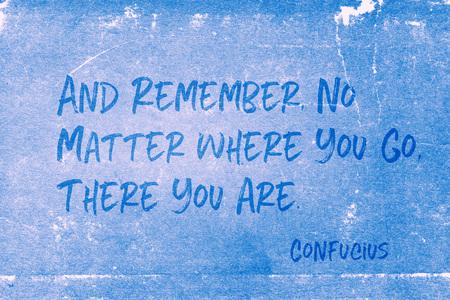 En onthoud, waar je ook gaat, daar ben je - oude Chinese filosoof Confucius citaat gedrukt op grunge blauw papier