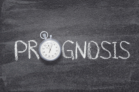 prognosis word handwritten on chalkboard with vintage precise stopwatch used instead of O
