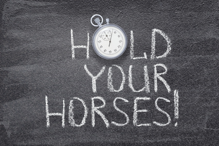 hold your horses exclamation written on chalkboard with vintage stopwatch used instead of O