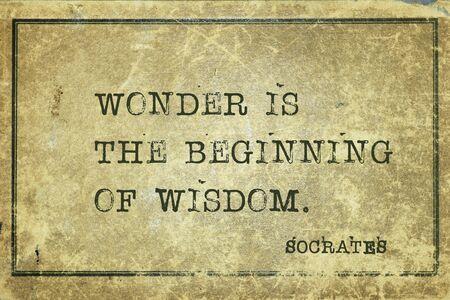 La merveille est le début de la sagesse - citation du philosophe grec ancien Socrate imprimée sur du carton vintage grunge Banque d'images