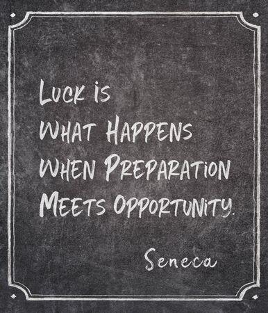 Luck is what happens when preparation meets opportunity - ancient Roman philosopher Seneca quote written on framed chalkboard Banco de Imagens