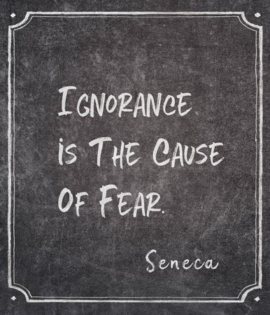 Ignorance is the cause of fear - ancient Roman philosopher Seneca quote written on framed chalkboard