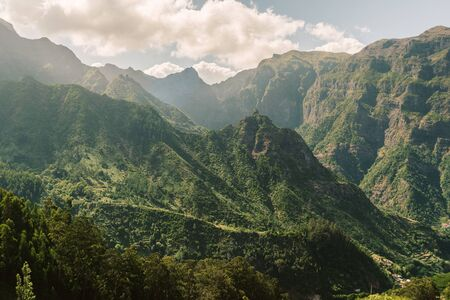 green mountains of Madeira Island by bright sunny day