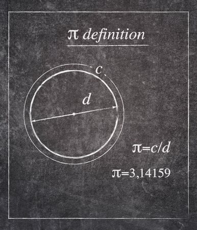 pi constant definition written on black chalkboard with simple frame 写真素材