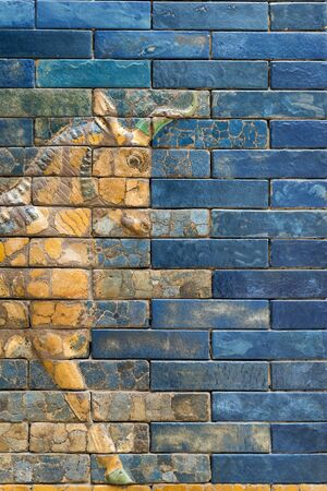 detailed wall fragment with Aurochs symbol of Hadad deity from ancient Babylon Imagens