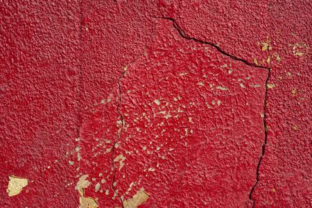 red painted cracked wall detailed background
