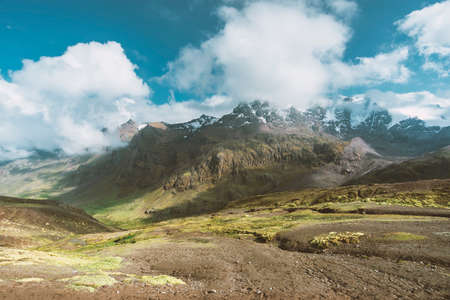 altitude mountain landscape by bright sunny day in Peru Stok Fotoğraf