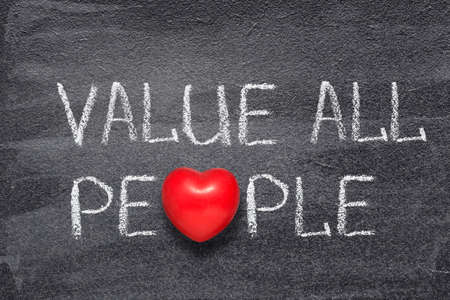 value all people phrase written on chalkboard with red heart symbol Stok Fotoğraf